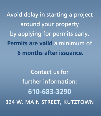 Avoid delay in starting a project around your property by applying for permits early. Permits are valid a minimum of 6 months after issuance.